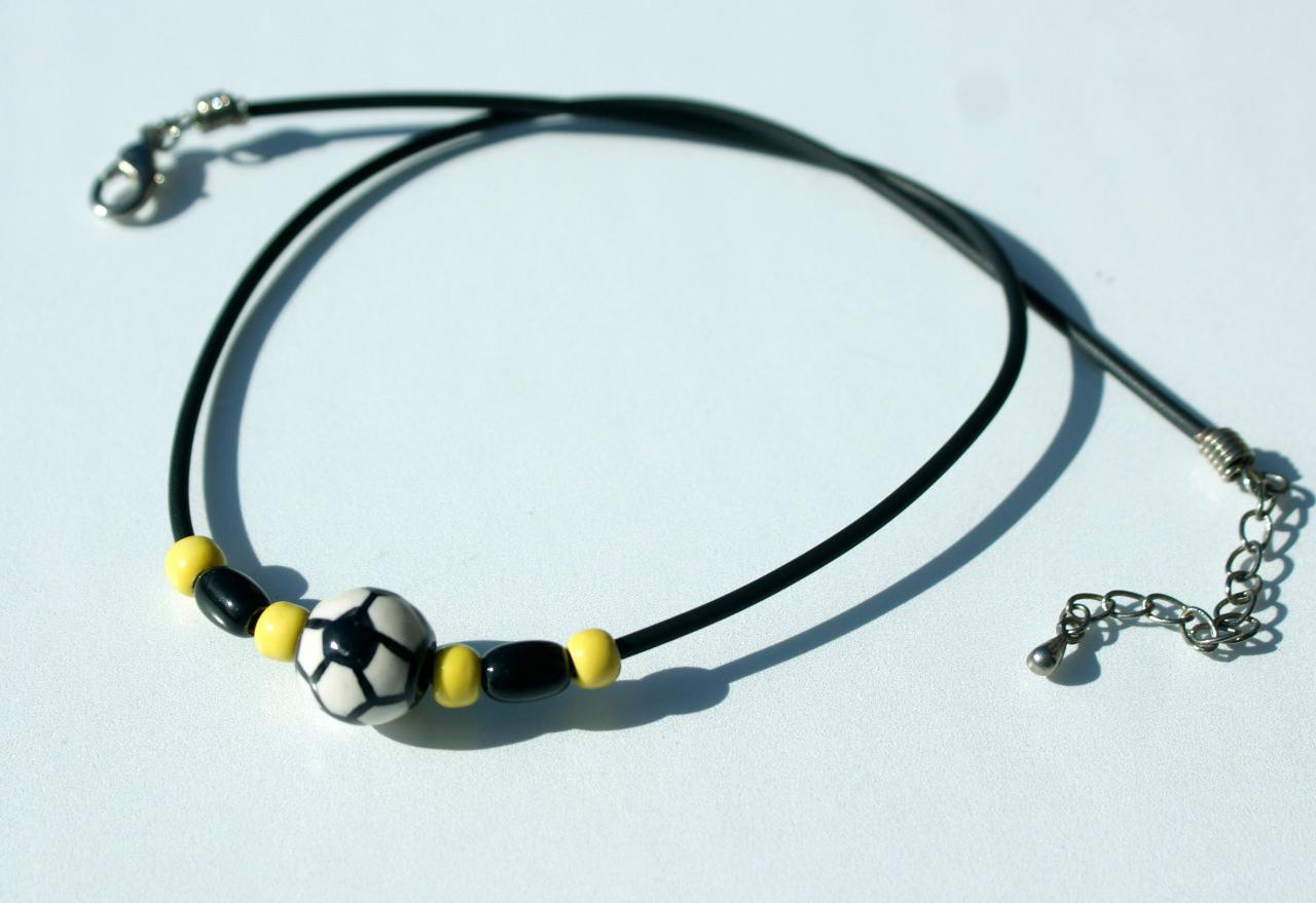 Kleinesbild - Halskette für Fußball-Fans schwarz-gelb