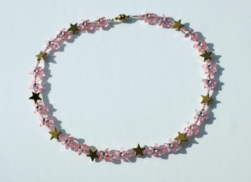 Kleinesbild - Kinder Halskette STERNE rosa gold  romantisch Prinzessin