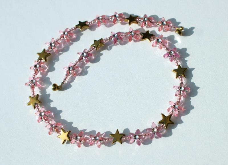 - Kinder Halskette STERNE rosa gold  romantisch Prinzessin   - Kinder Halskette STERNE rosa gold  romantisch Prinzessin