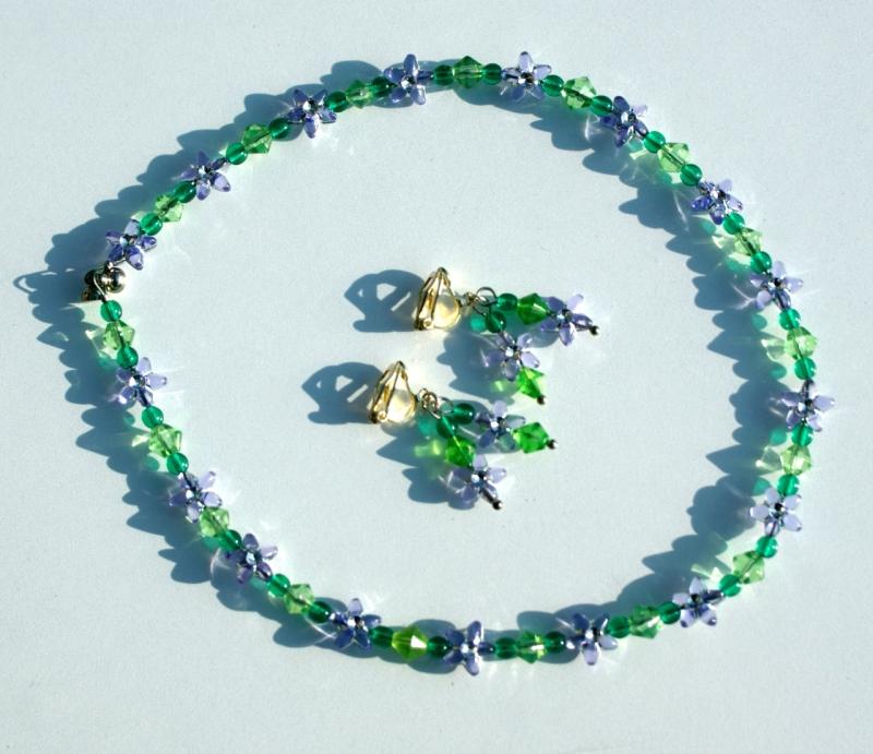 Kleinesbild - Ohrclips für Mädchen BLÜTEN-STERNE flieder grün