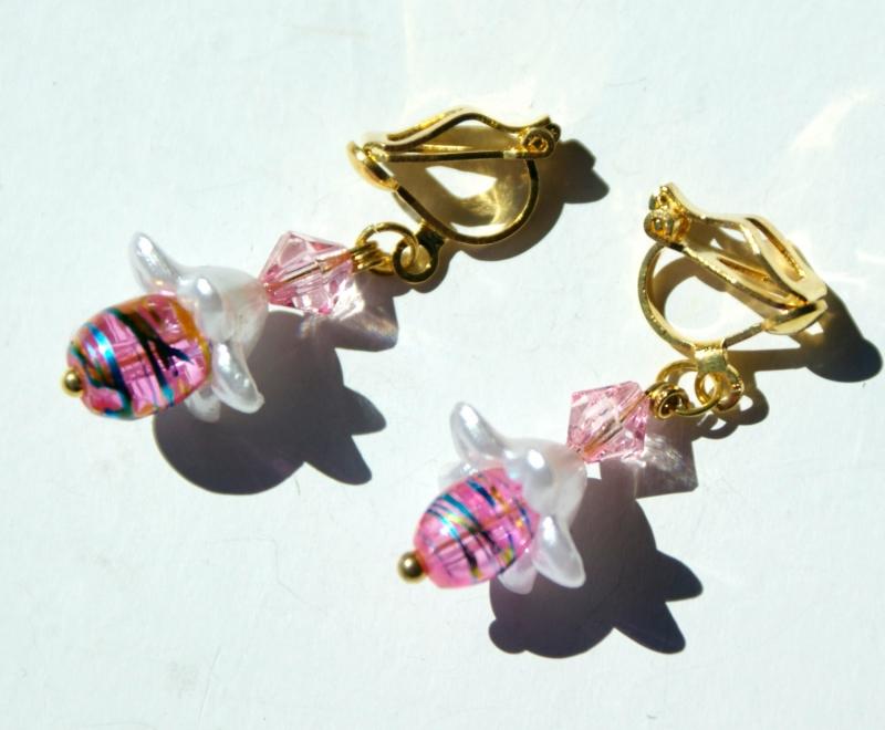 - Ohrclips BLUMIG Blütenkelch silber rosa gold romantisch - Ohrclips BLUMIG Blütenkelch silber rosa gold romantisch