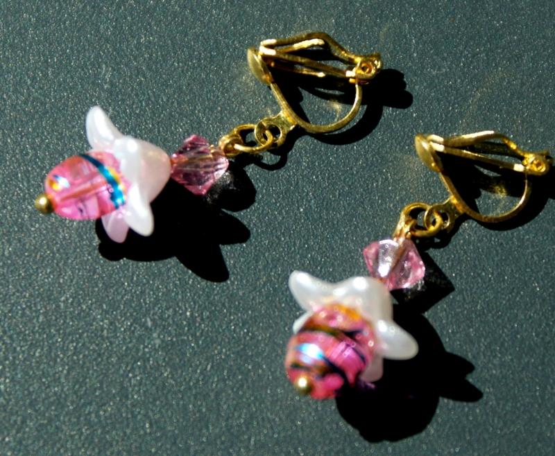 Kleinesbild - Ohrclips BLUMIG Blütenkelch silber rosa gold romantisch