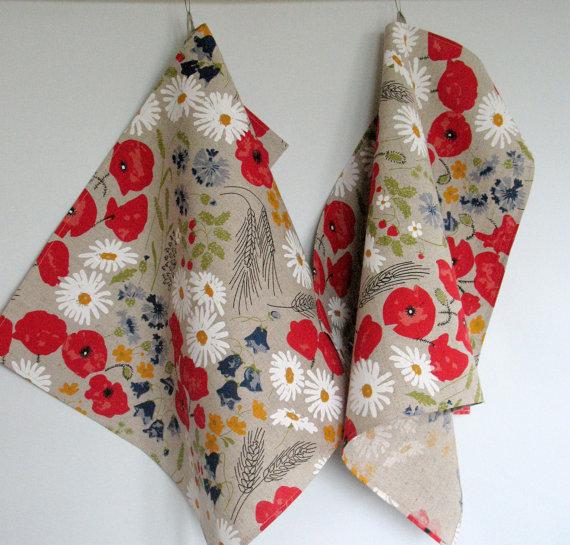 - Küchentuch Leinen 2 Stück Blumen rote Mohnblumen Kornblume das Gänseblümchen Wiese - Küchentuch Leinen 2 Stück Blumen rote Mohnblumen Kornblume das Gänseblümchen Wiese