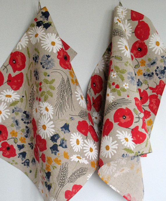 Kleinesbild - Küchentuch Leinen 2 Stück Blumen rote Mohnblumen Kornblume das Gänseblümchen Wiese