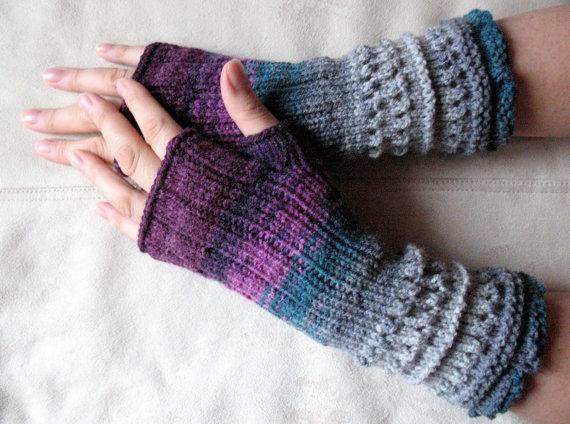 - Handstulpen Handschuhe Violett Grau Burgund  - Handstulpen Handschuhe Violett Grau Burgund