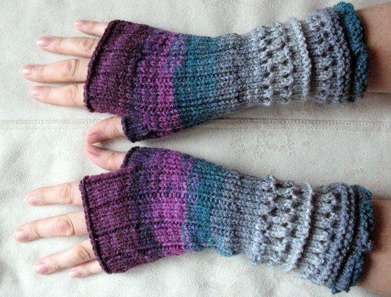 Kleinesbild - Handstulpen Handschuhe Violett Grau Burgund