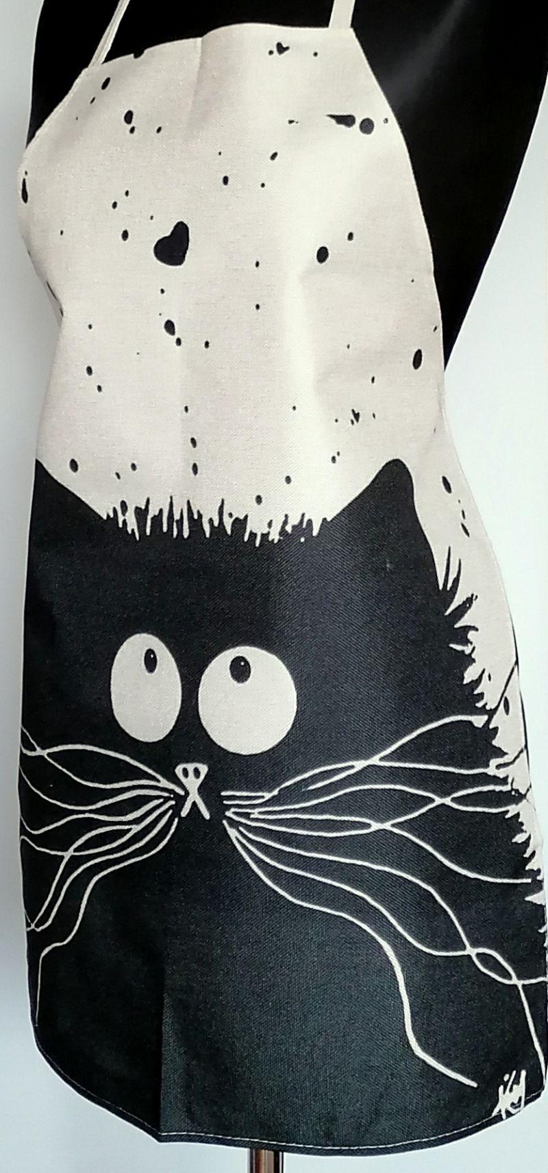 Kleinesbild - Leinen Schürze Küchenwäsche Schürze Gardening natürlichen grauen Schwarz Katze