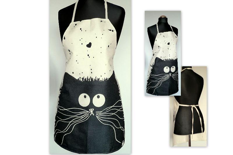- Leinen Schürze Küchenwäsche Schürze Gardening natürlichen grauen Schwarz Katze   - Leinen Schürze Küchenwäsche Schürze Gardening natürlichen grauen Schwarz Katze