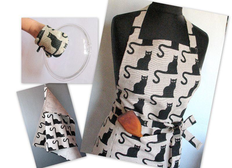 Kleinesbild - Ofen Mit Marienkäfer Ofenhandschuh Set Gesteppter Ofenhandschuh Schwarz Katze Küchendekor