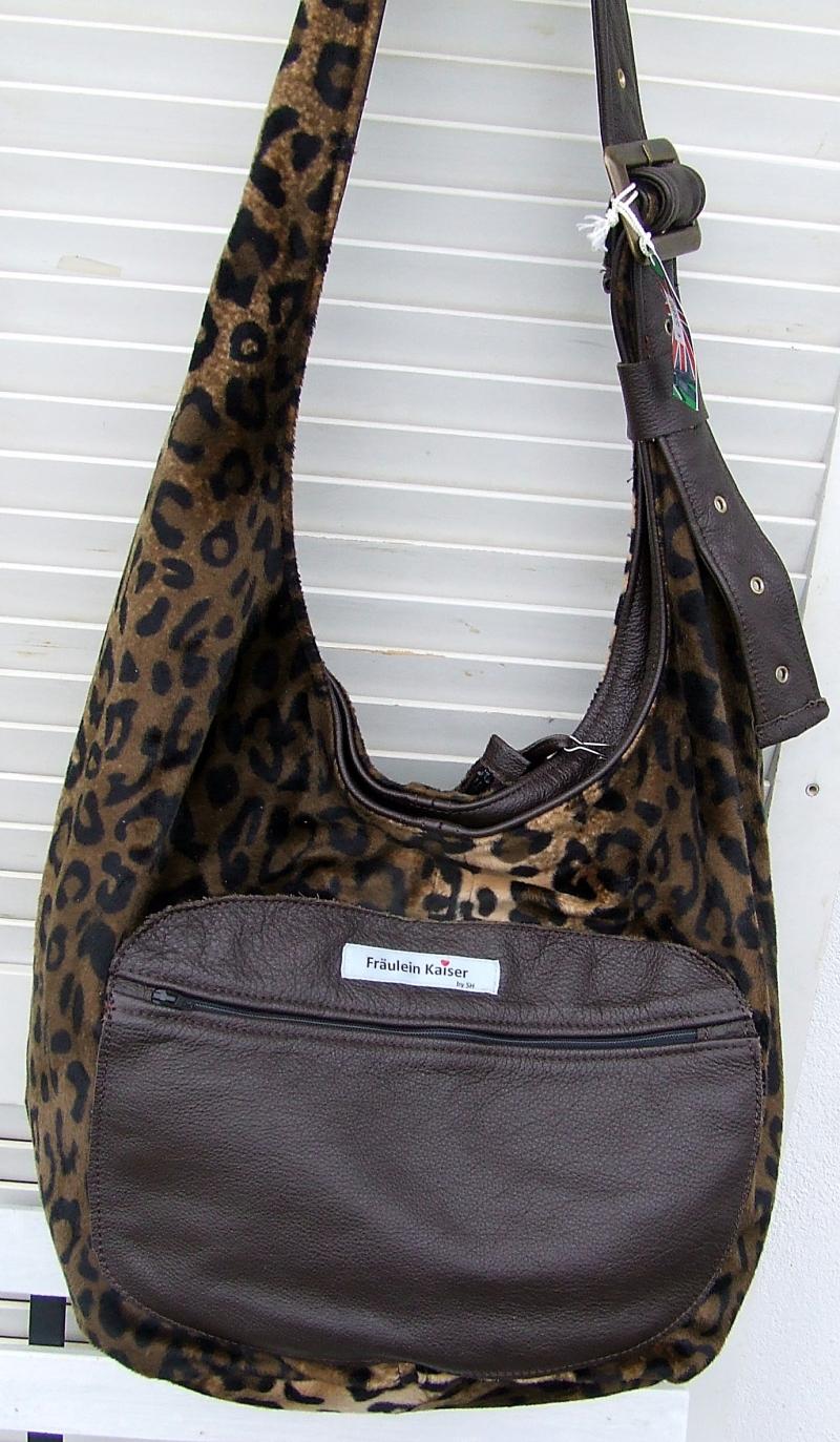 - Tasche Beuteltasche in Felloptik ,animalprint im Leopardendesign, handgenähtl - Tasche Beuteltasche in Felloptik ,animalprint im Leopardendesign, handgenähtl
