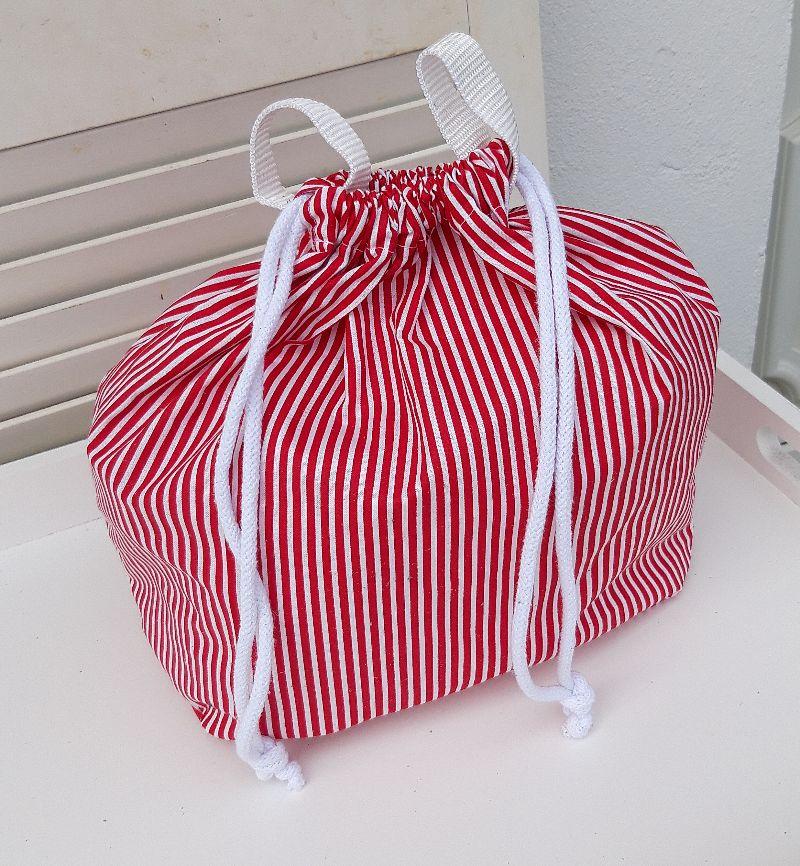 - Innenbeutel für Leder Netztasche rot/weiß gestreift - Innenbeutel für Leder Netztasche rot/weiß gestreift