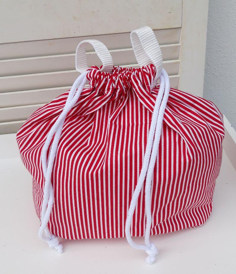 Kleinesbild - Innenbeutel für Leder Netztasche rot/weiß gestreift