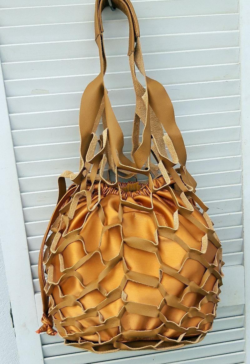 Kleinesbild - Innenbeutel für Leder Netztasche zum Wenden gelb