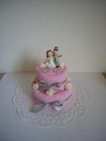 Hochzeitsgeschenk rosa Hochzeitstorte Rosen Herzen Brautpaar - Handarbeit kaufen