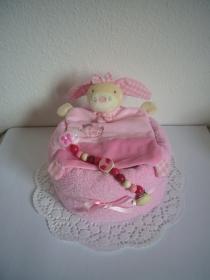 Windeltorte Geburt Taufe Mädchen Hase Schnullerkette