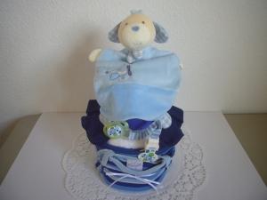 Windeltorte Junge blau Body Schmusetuch Streifen - Handarbeit kaufen