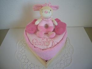 Windeltorte Mädchen Herz Greifling rosa rosé Geburt Taufe