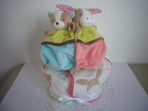 Windeltorte Zwillinge Schmusetuch Lätzchen Geburt Baby Geschenk - Handarbeit kaufen