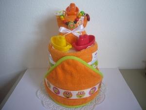 Windeltorte Eule orange Badespielzeug baden Geburt Taufe Karneval - Handarbeit kaufen