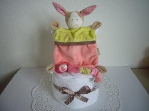 Windeltorte Schmusetuch Mädchen Erdbeere Baby Geburt Taufe - Handarbeit kaufen