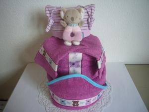 Windeltorte Kapuzenhandtuch Teddy lila violett Mädchen Babyparty Geschenk Geburt Taufe