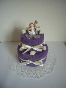 Hochzeitsgeschenk lila violett Flitterwochen Duschtuch Handtuch Geschenk Hochzeit Rosen - Handarbeit kaufen
