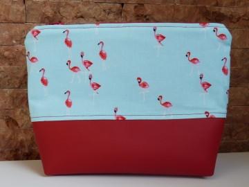 Kosmetiktasche Flamingo mit rotem Kunstleder