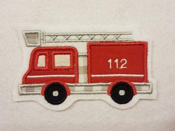 Stickapplikation, Applikation, gestickter Aufnäher Feuerwehrauto
