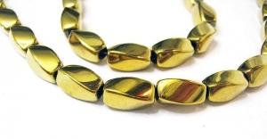 Hämatit 6x12 mm vergoldet gedrehte Oliven Strang