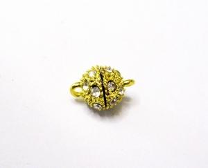 8 mm Magnetverschluss, Glitzersteinchen vergoldet