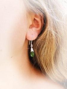 925/Silber Ohrhänger mit Jadetropfen