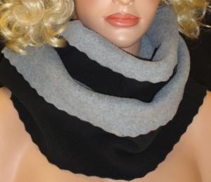 Schlauchschal Loop Double Face Fleece handgemacht  Rundsschal Grau/Schwarz  - Handarbeit kaufen