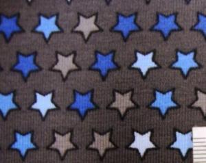 Baumwolljersey Süße Kleine Sterne weiß beige hellblau blau auf grau - Handarbeit kaufen