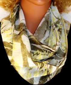 Loop Schlauchschal Rundschal handgemacht  Crepe Ciffon Fanny gelb weiss olive - Handarbeit kaufen