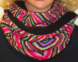 """handgemachter kuscheliger Loop/Schlauchschal """"Multicolor-Fleece """" Raute zum wenden Rundschal Weihnachtsgeschenke - Handarbeit kaufen"""