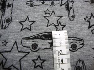 Baumwolljersey grau meliert mit Rennwagen und Sternen Auto Sportwagen - Handarbeit kaufen