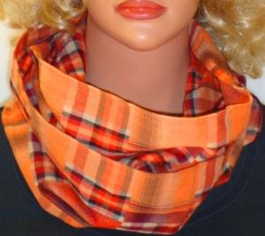 Loop / Schlauchschal Rundschal handegemacht Double-Karo orange rot leichte Baumwolle Geschenke - Handarbeit kaufen