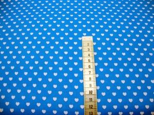 Baumwoll-Stoffe weiße Herzen auf blau - Handarbeit kaufen