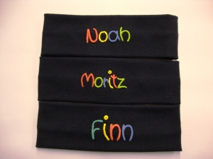 handgemachte Stirnband aus Feinripp-Baumwolle marine mit Namen  - Handarbeit kaufen