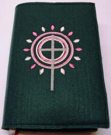 Gotteslobhülle handgefertigt aus 3mm Filz petrol mit Strahlen und Kreise in rosa pink - Handarbeit kaufen