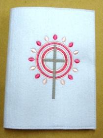 Gotteslobhülle handgefertigt weiß aus 3mm Filz mit Strahlen rosa und pink - Handarbeit kaufen