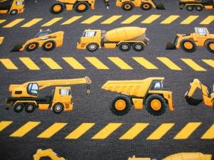 Baumwolljersey Baustellenfahrzeuge, graubraun limitierte Auflage - Handarbeit kaufen
