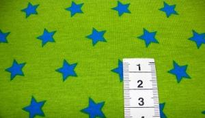 Jersey - Sterne Medium - Türkis auf Hellgrün - Handarbeit kaufen