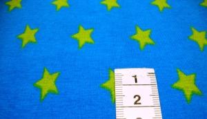 Jersey - Sterne Medium - Hellgrün auf Türkis