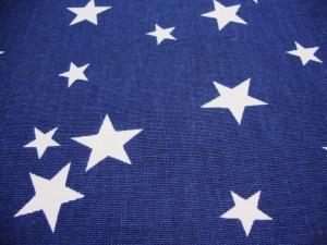 Canvas Stoff Navy Stars weiße Sterne auf dunkelblau