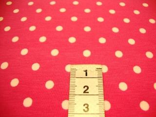Jersey weisse Punkte auf pink - Handarbeit kaufen