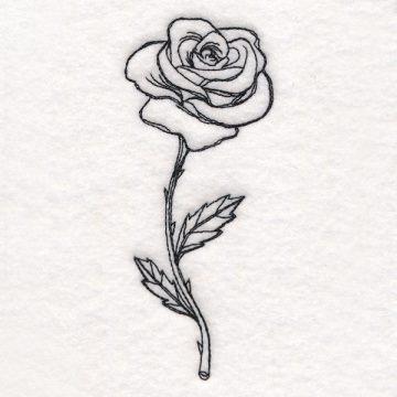 Rose in Bloom - aufgeblühte Rose Patch gestickt Applikation