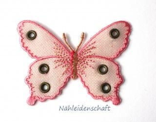 7 cm großer Schmetterling Applikation rosa Appli