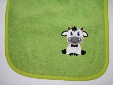 Riesen-Schlupflätzchen mit Kuh und Name, personalisiert, Dieda, Latz, Lätzchen, Schlupflatz, - Handarbeit kaufen