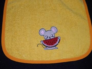 Riesen-Schlupflätzchen, Latz mit Maus und Name bestickt, personalisiert, Melone, gelb, individuell, Dieda!